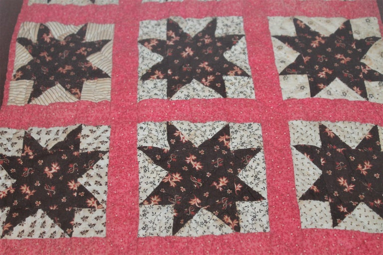 American 19th Century Six Point Star Rare Doll Quilt For Sale