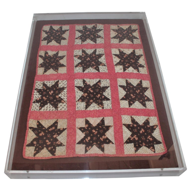 19th Century Six Point Star Rare Doll Quilt For Sale