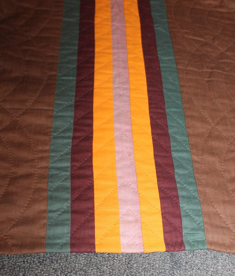 Hand-Crafted 19th Century Split Bars Quilt from Pennsylvania For Sale