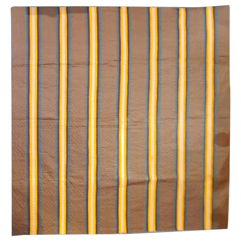 19th Century Split Bars Quilt from Pennsylvania For Sale