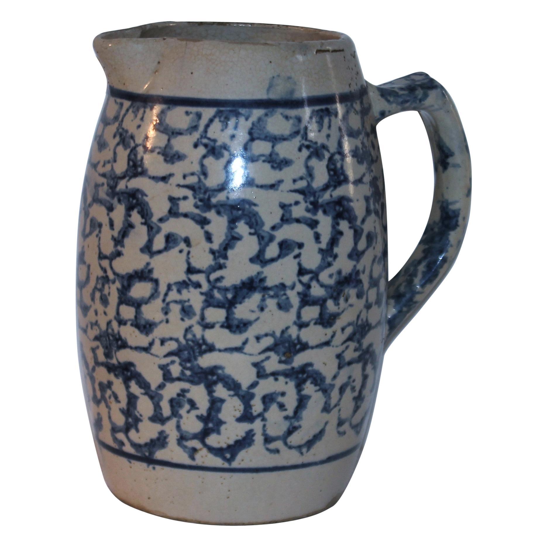 19thc Sponge Ware Barrel Pottery Pitcher
