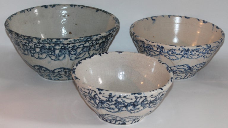 Set of three 19th century sponge ware bowls. All in pristine condition and sold as a group of three. Clam shell pattern.