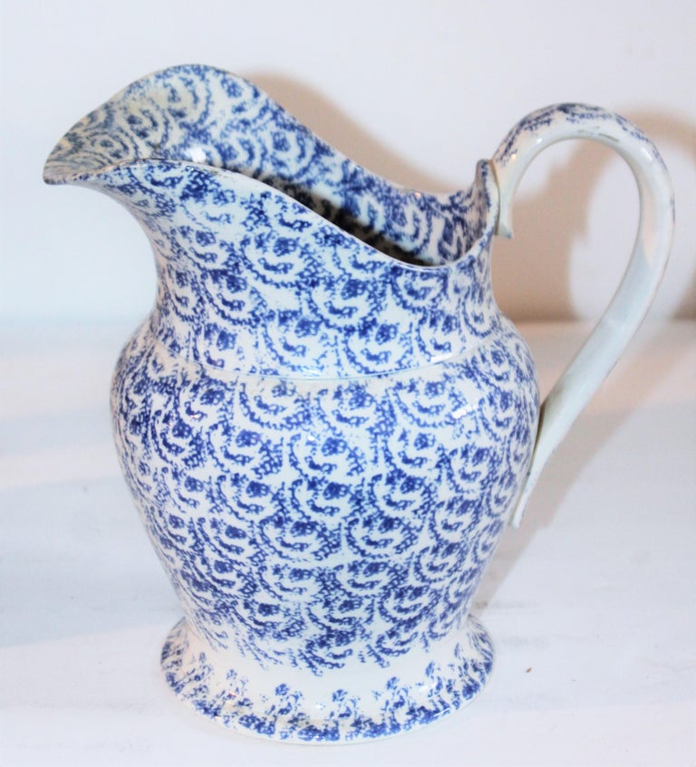 19th century sponge ware soft paste design sponge soft paste pitcher. The condition is very good and this is most unusual.