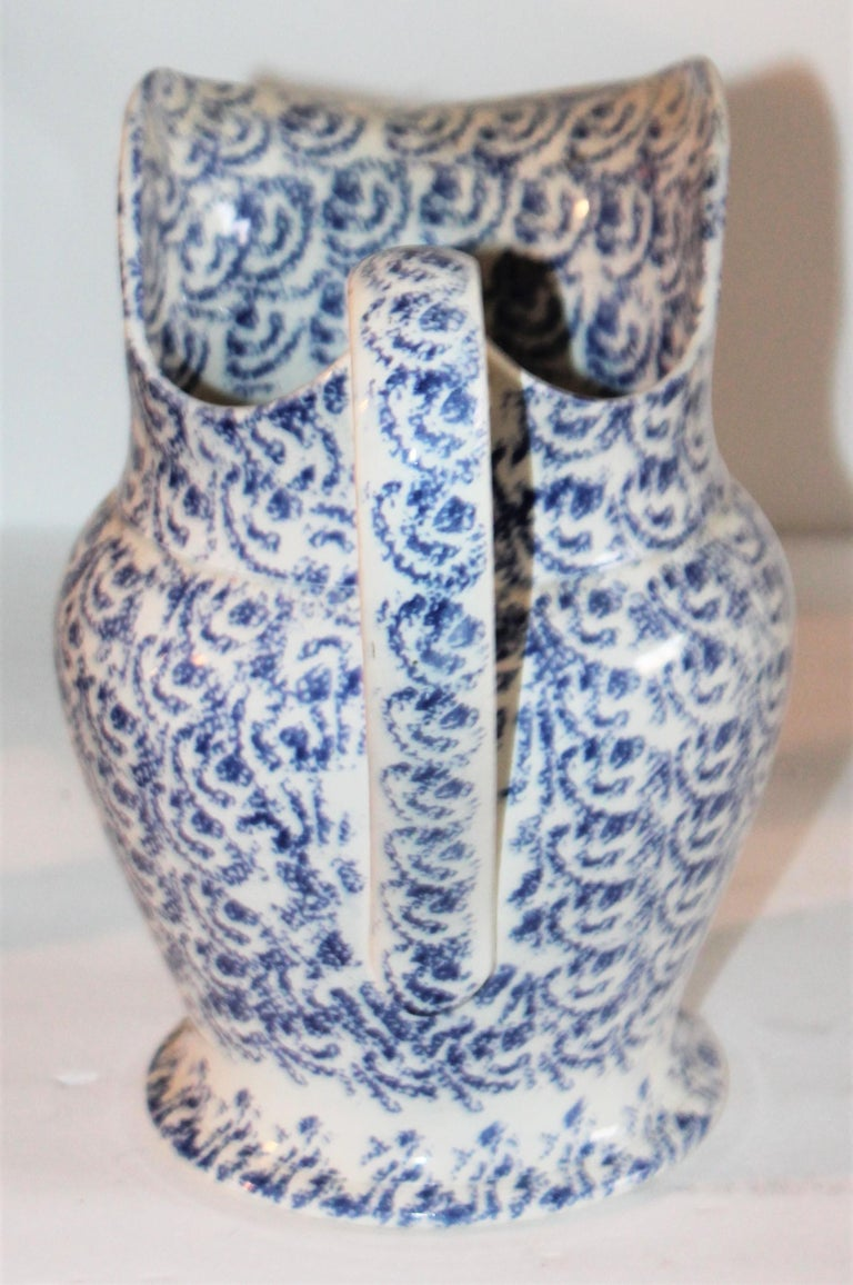 Folk Art 19th Century Sponge Ware Bulbous Soft Paste Pitcher For Sale