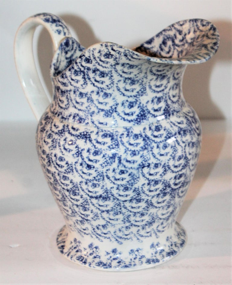 American 19th Century Sponge Ware Bulbous Soft Paste Pitcher For Sale