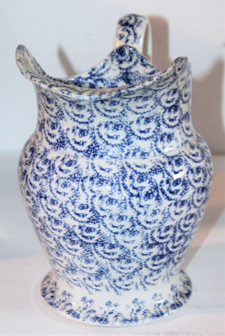 Hand-Crafted 19th Century Sponge Ware Bulbous Soft Paste Pitcher For Sale