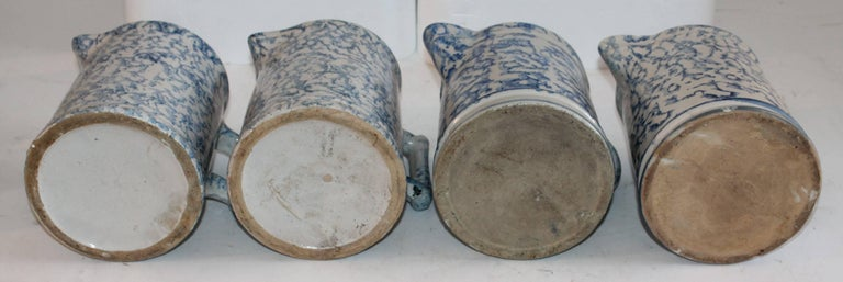 19th Century Sponge Ware Collection of Eight Pottery Pitchers For Sale 4