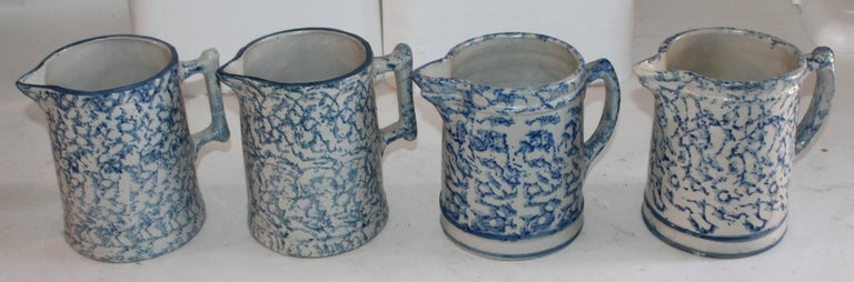 19th Century Sponge Ware Collection of Eight Pottery Pitchers For Sale 1