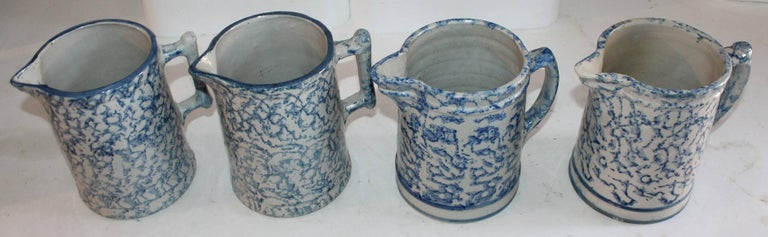 19th Century Sponge Ware Collection of Eight Pottery Pitchers For Sale 2