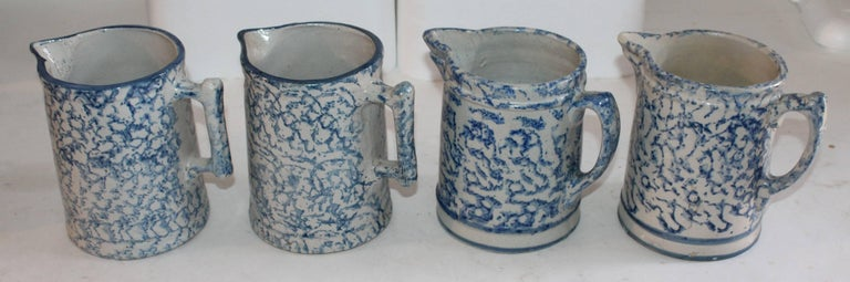 19th Century Sponge Ware Collection of Eight Pottery Pitchers For Sale 3