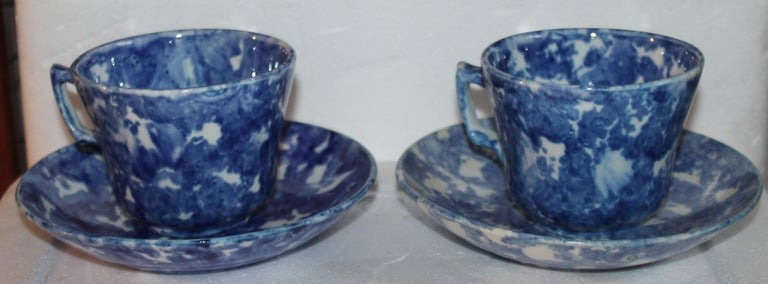 Adirondack 19thc Sponge Ware Cup and Saucers, Set of Four For Sale