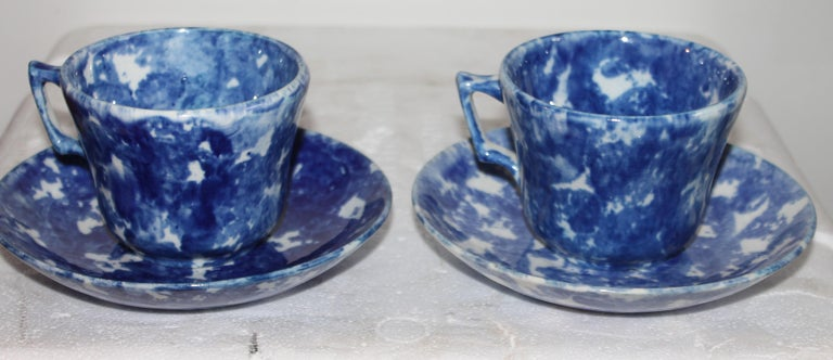 North American 19thc Sponge Ware Cup and Saucers, Set of Four For Sale
