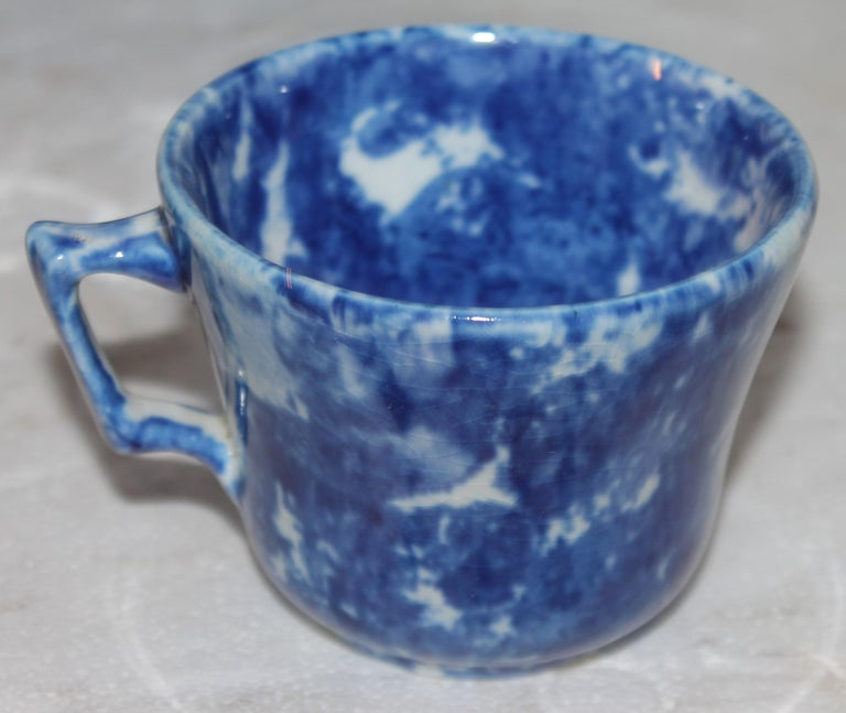 19th Century 19thc Sponge Ware Cup and Saucers, Set of Four For Sale