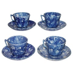 19thc Sponge Ware Cup and Saucers, Set of Four