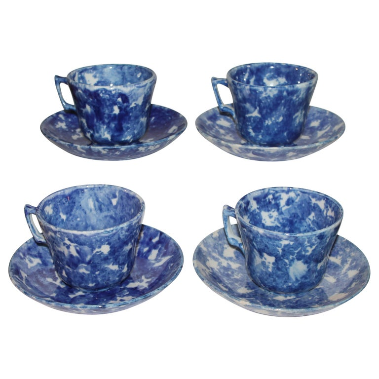 19thc Sponge Ware Cup and Saucers, Set of Four For Sale