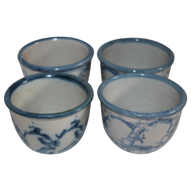 19Thc Sponge Ware Custard Cups -Set of Four For Sale
