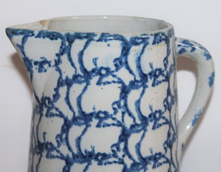 Adirondack 19th Century Sponge Ware Design Pattern Pitcher For Sale