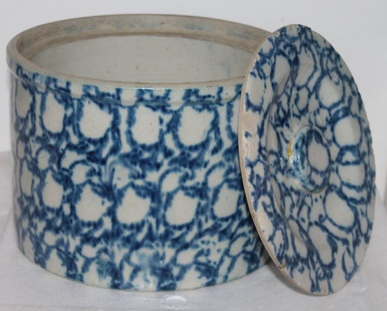 Hand-Crafted 19thc Sponge Ware Large Butter Crock
