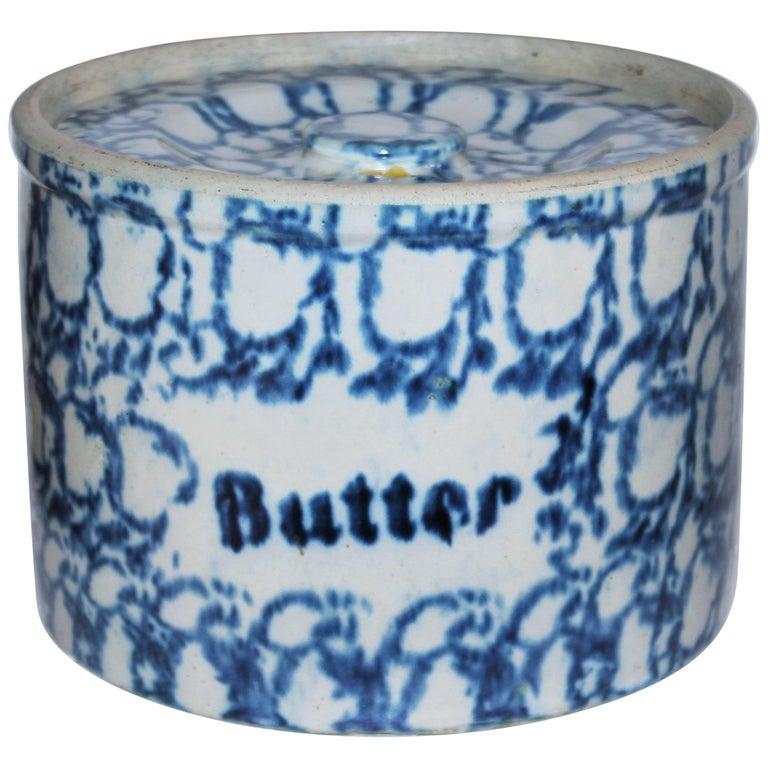 19thc Sponge Ware Large Butter Crock