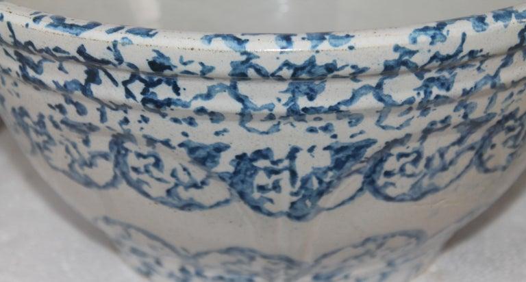 Adirondack 19thc Sponge Ware Large Mixing Bowl For Sale