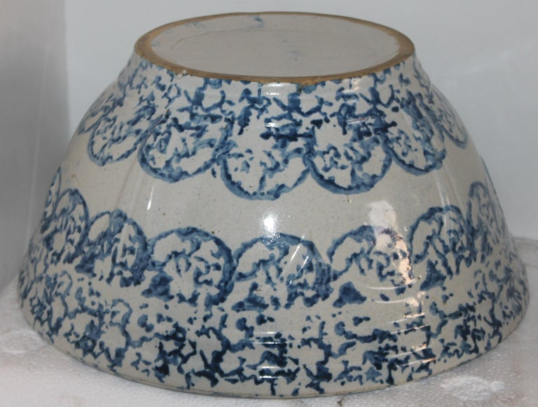 Hand-Crafted 19thc Sponge Ware Large Mixing Bowl For Sale