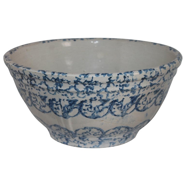 19thc Sponge Ware Large Mixing Bowl For Sale