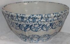 19thc Sponge Ware Large Mixing Bowl