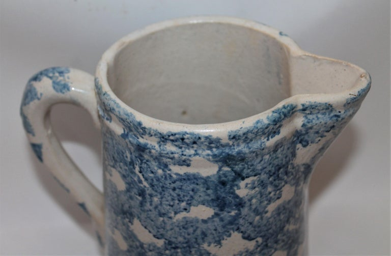 Country 19th Century Sponge Ware Patterned Pitcher For Sale