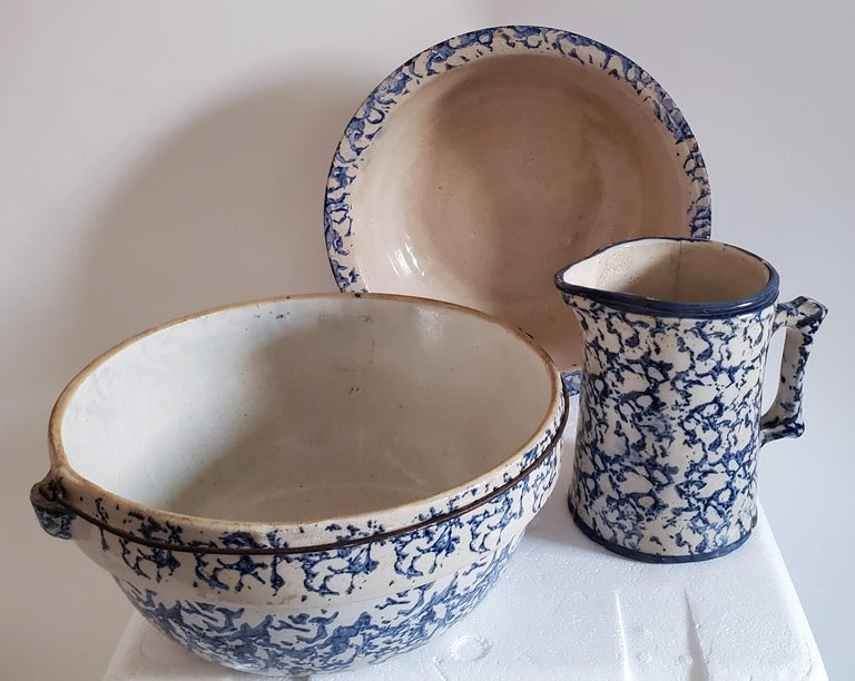 These three pieces are sponge ware with minor spider cracks but not that bad. Great shelf pieces. We just bought a huge collection of sponge ware and some pieces had minor cracks or chips in them.  Measures: large bowl with metal hanger 12 x