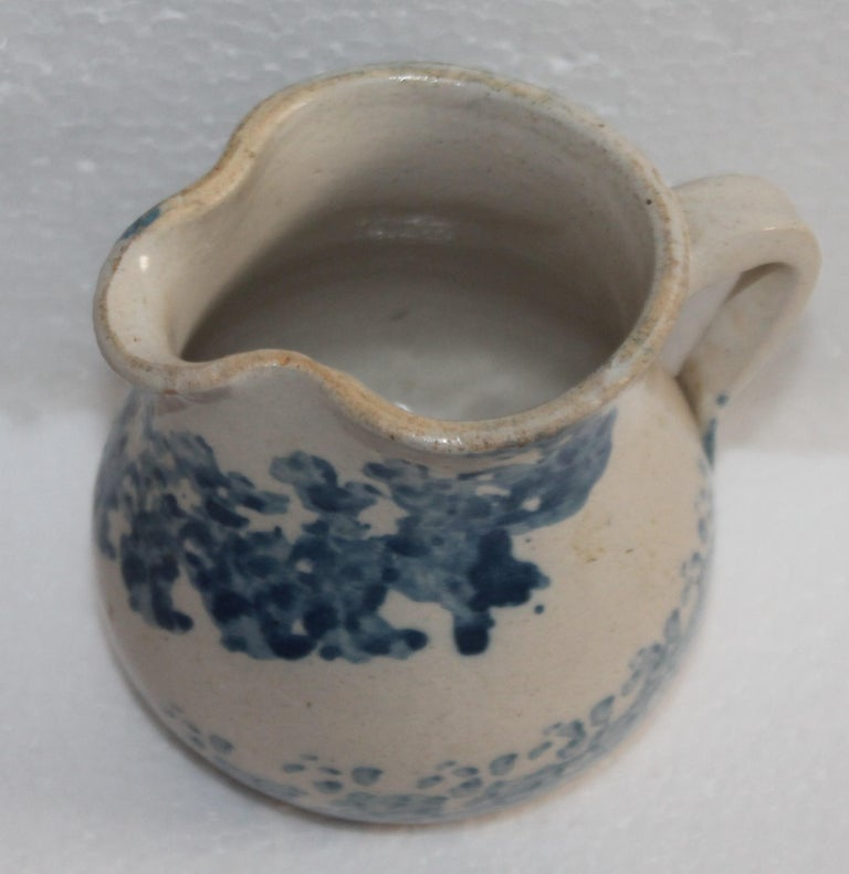 Adirondack 19th Century Sponge Ware Pottery Cream Pitcher For Sale