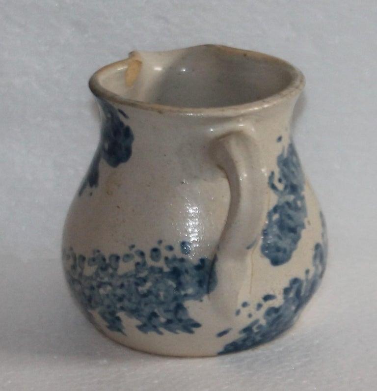 American 19th Century Sponge Ware Pottery Cream Pitcher For Sale
