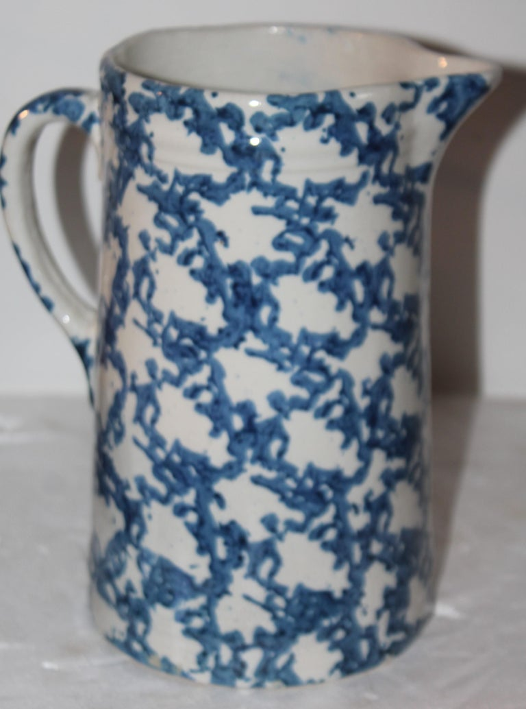 Adirondack 19thc Sponge Ware Pottery Pitcher For Sale