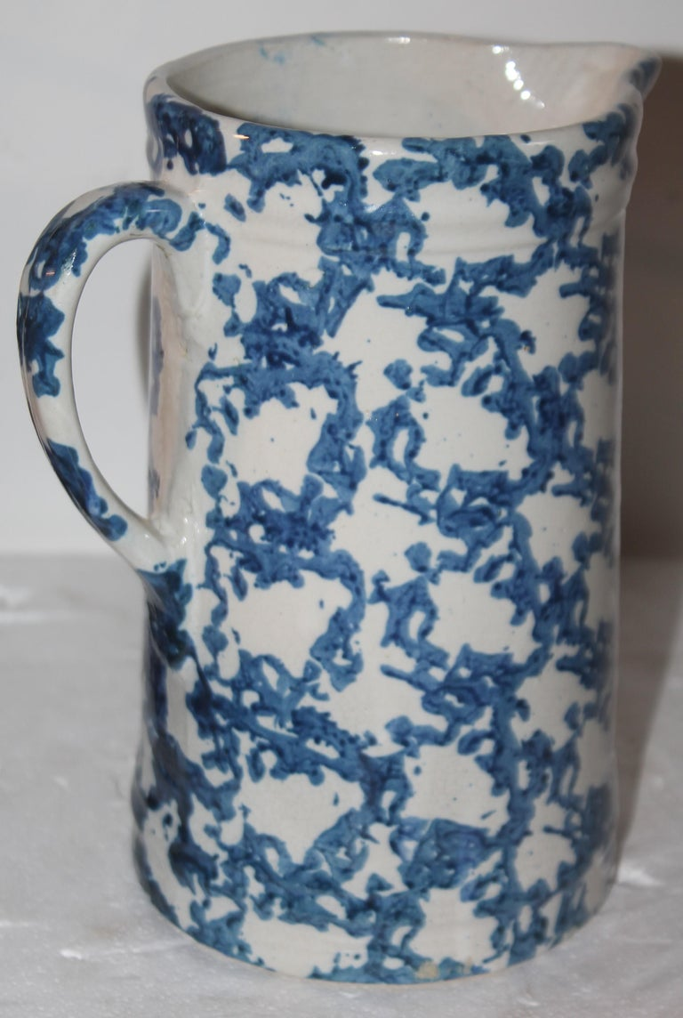 American 19thc Sponge Ware Pottery Pitcher For Sale