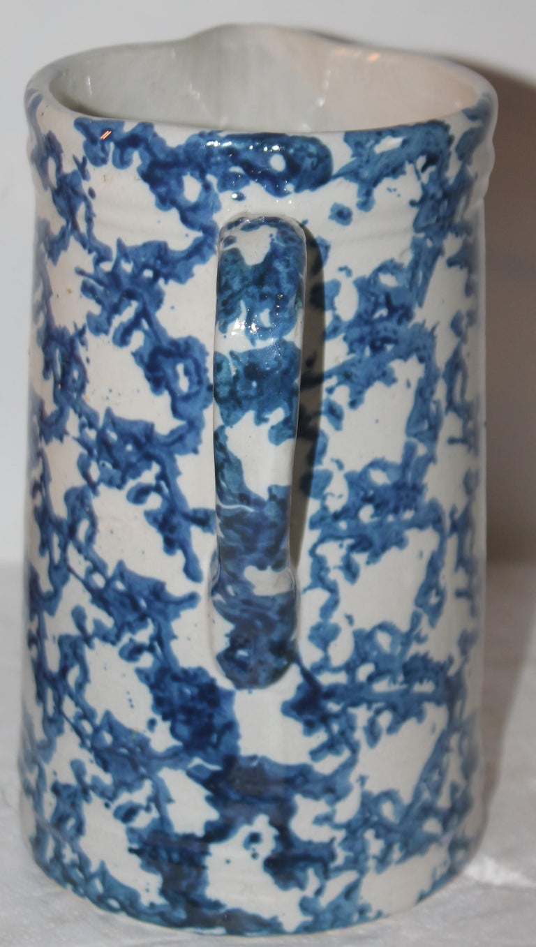 Hand-Crafted 19thc Sponge Ware Pottery Pitcher For Sale