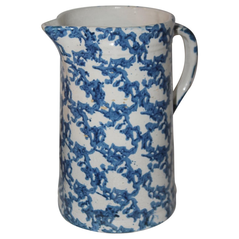 19thc Sponge Ware Pottery Pitcher For Sale