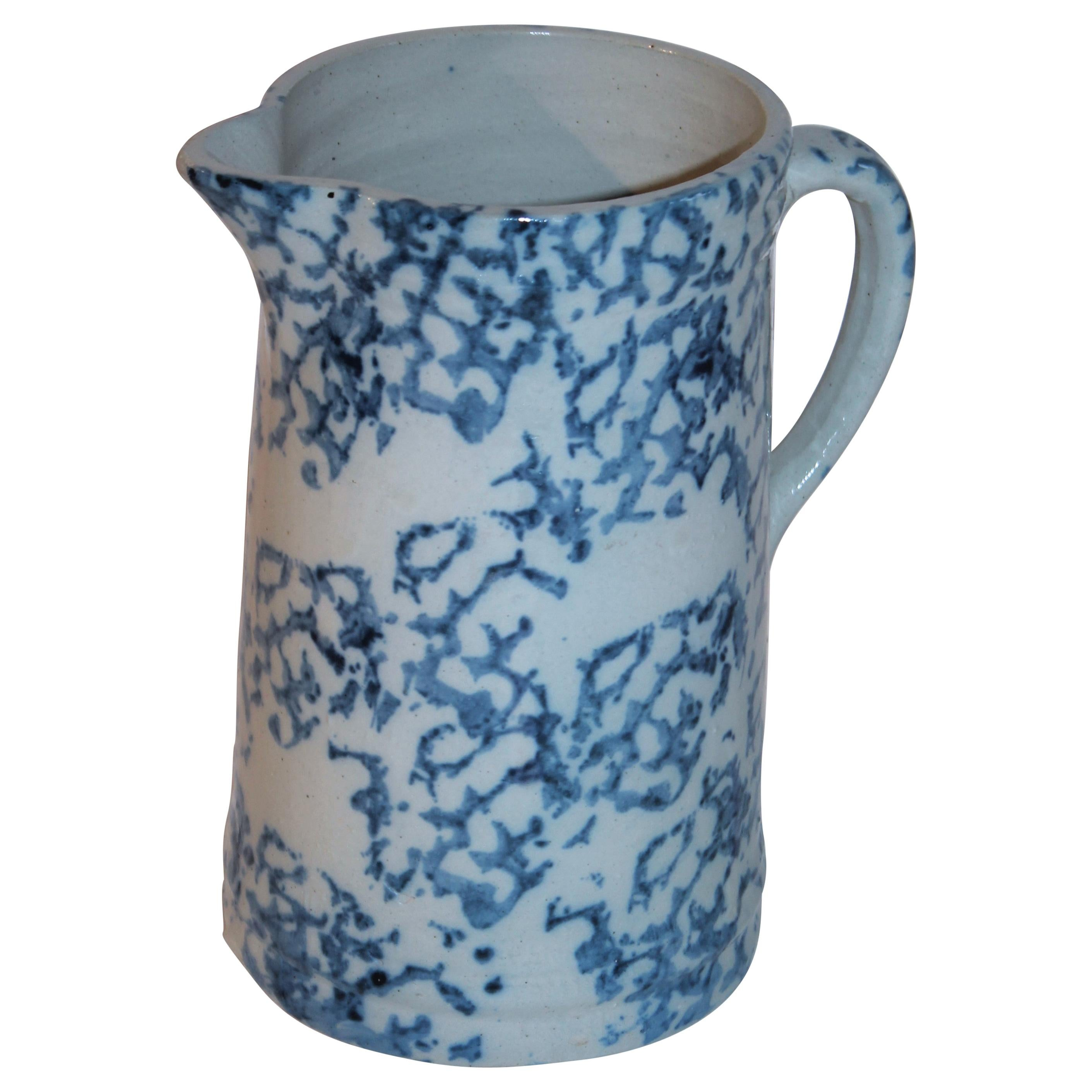 19thc Sponge Ware Pottery Pitcher