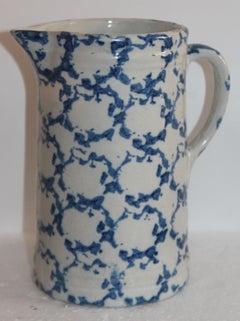 19th Century Sponge Ware Pottery Pitcher