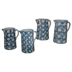 19Thc Sponge Ware Pottery Pitchers -Collection of Four