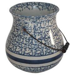 19th Century Sponge Ware Slop Bucket with Original Wire Handle