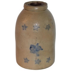 19thc Stars Decorated Stone Ware Crock / Jug