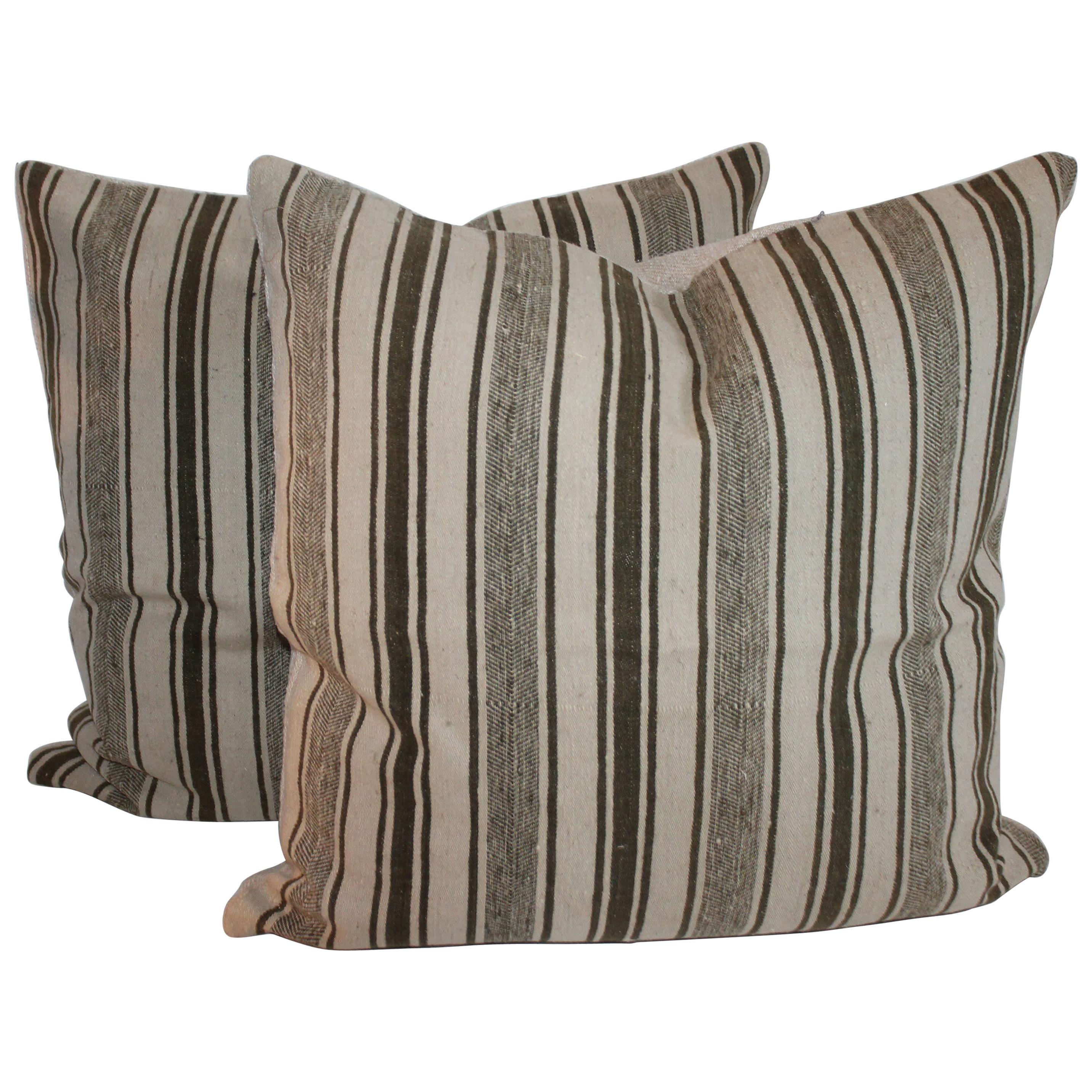 19Thc Striped Wool Ticking Pillows, Pair