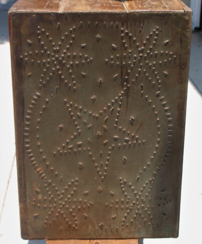 19th Century 19thc Table Top Punched Tin Pie Safe For Sale