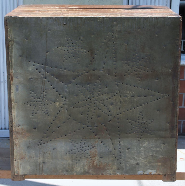 Wood 19thc Table Top Punched Tin Pie Safe For Sale