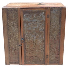 19thc Table Top Punched Tin Pie Safe