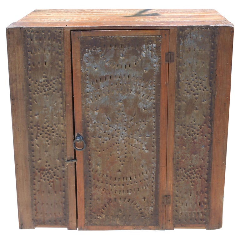 19thc Table Top Punched Tin Pie Safe For Sale