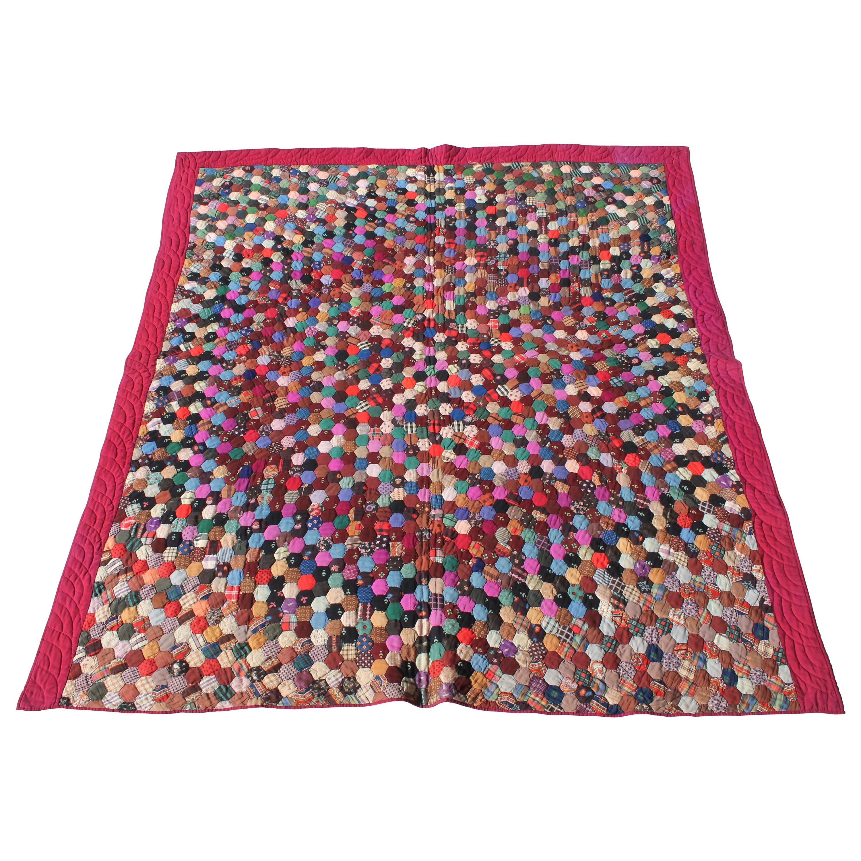 19Thc Tiny Pieced Wool Hexagon Quilt