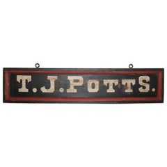 19th Century T.J. Potts Original Painted Trade Sign