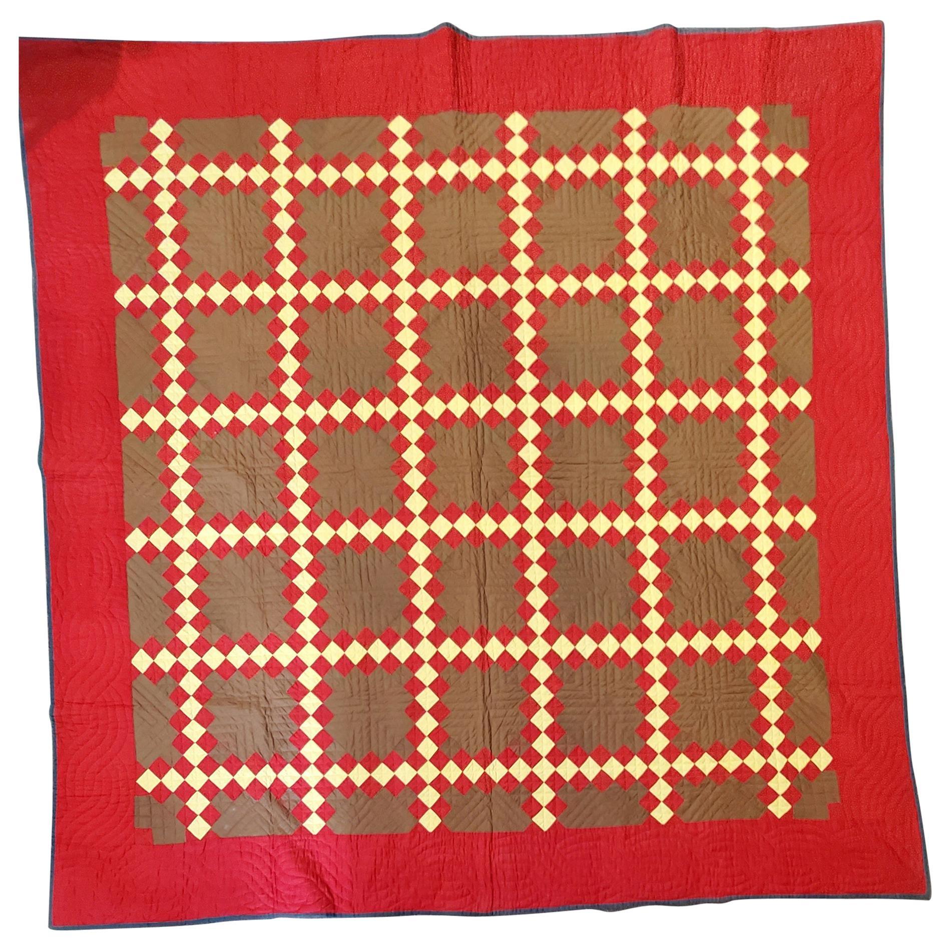 19thc Triple Irish Chain Quilt from Pennsylvania