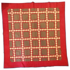 19thc Triple Irish Chain Quilt from Pennsylvania