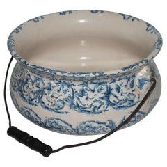 19th Century Unusual Sponge Ware Pottery Bucket